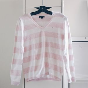 TOMMY HILFIGER PINK & WHITE STRIPED TOP